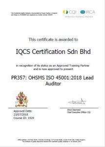 ISO 45001 OHSMS Training | IQCS Certification